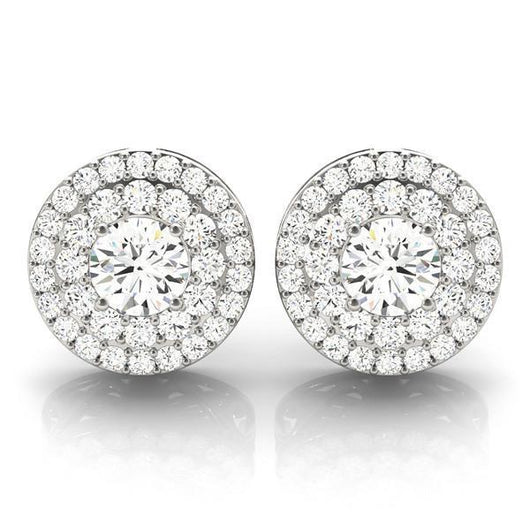 Diamond Halo Earrings with F Color VS Clarity Diamonds