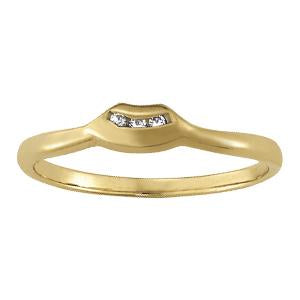 1/20 ct tw 14kt Gold Curved Diamond Wedding Band with F Color VS Clarity Diamonds