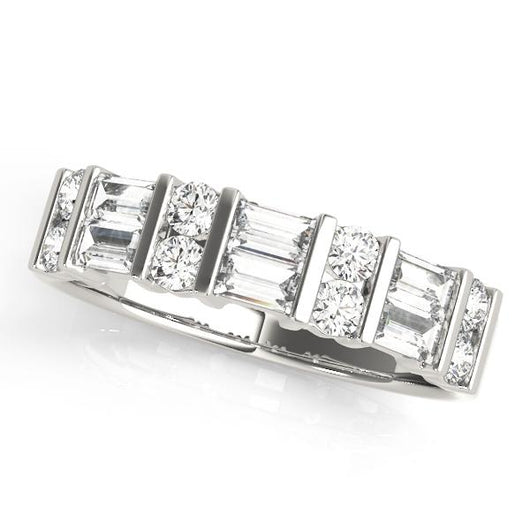 7/8 ct tw 14kt Gold Baguette Diamond Wedding Band with F Color VS Clarity Diamonds