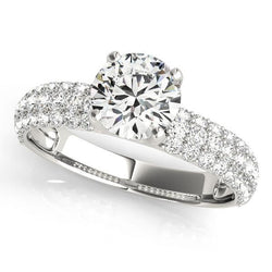 1 1/8 ct tw Pave Engagement Ring with F Color VS Clarity GIA Certified Diamond