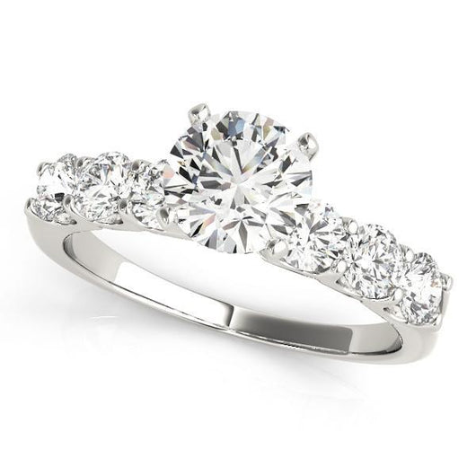 1 1/2 ct tw Single Row Prong Set Engagement Ring with F Color VS Clarity GIA Certified Diamond