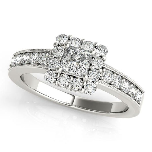 7 8 Ct Tw Halo Princess Cut Engagement Ring With F Color Vs Clarity Diamonds Gia Center Stone