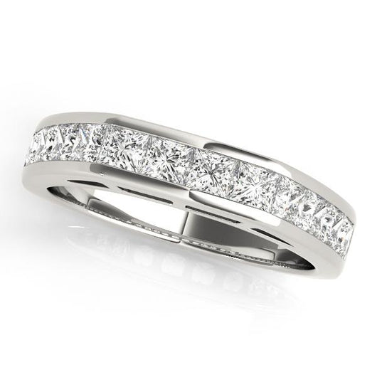 1 1/5 ct tw 14kt Gold Princess Cut Diamond Wedding Band with F Color VS Clarity Diamonds