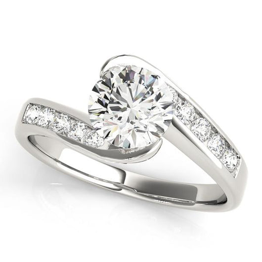 1 ct tw Bypass Engagement Ring with F Color VS Clarity GIA Certified Diamond