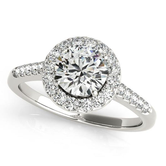 1 7/8 ct tw Halo Round Engagement Ring with F Color VS Clarity GIA Certified Diamond