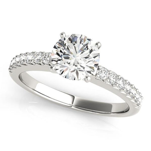 1/8 ct tw Single Row Prong Set Engagement Ring with F Color VS Clarity GIA Certified Diamond