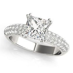 1/3 ct tw Pave Engagement Ring with F Color VS Clarity GIA Certified Diamond