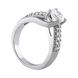 1 3/8 ct tw Pave Engagement Ring with F Color VS Clarity Diamonds GIA Center Stone.