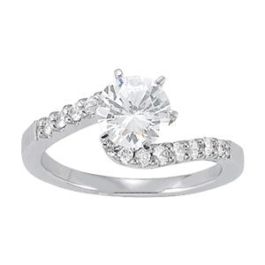 1 1/4 ct tw Bypass Engagement Ring with F Color VS Clarity GIA Certified Diamond