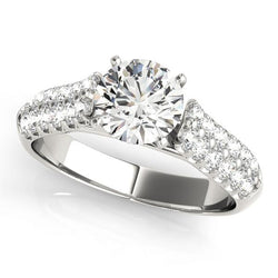 5/8 ct tw Pave Engagement Ring with F Color VS Clarity GIA Certified Diamond