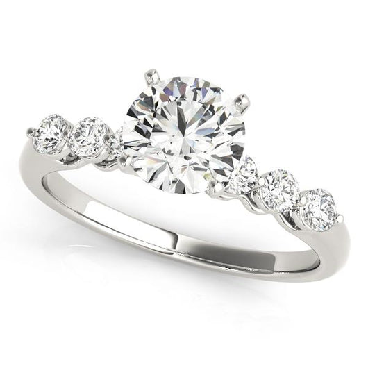 5/8 ct tw Single Row Prong Set Engagement Ring with F Color VS Clarity GIA Certified Diamond
