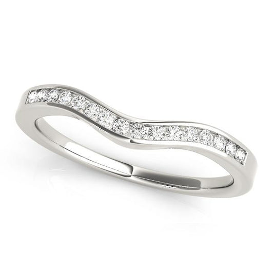 1/8 ct tw 14kt Gold Curved Diamond Wedding Band with F Color VS Clarity Diamonds