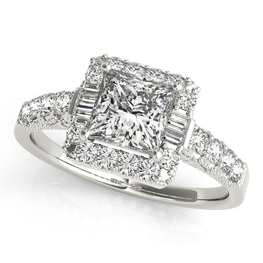 1 1 2 Ct Tw Halo Princess Cut Engagement Ring With F Color Vs Clarity Diamonds Gia Center Stone