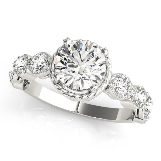 1 1/2 ct tw Cluster Sides Engagement Ring with F Color VS Clarity GIA Certified Diamond