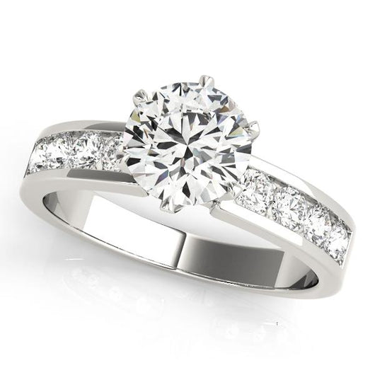 1 1/2 ct tw Single Row Channel Set Engagement Ring with F Color VS Clarity GIA Certified Diamond