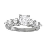 1 3/8 ct tw Single Row Prong Set Engagement Ring with F Color VS Clarity GIA Certified Diamond