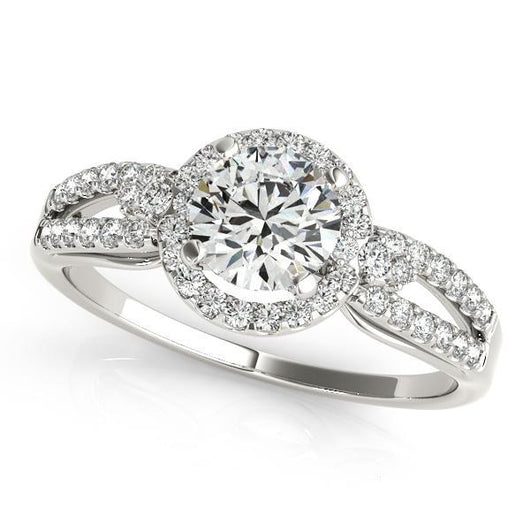 1/3 ct tw Halo Round Engagement Ring with F Color VS Clarity GIA Certified Diamond