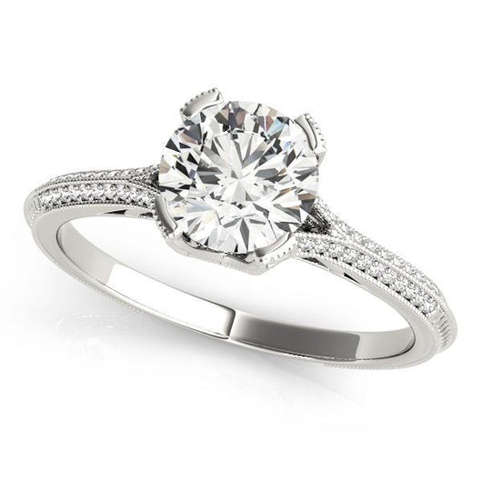 7/8 ct tw MultiRow Engagement Ring with F Color VS Clarity GIA Certified Diamond