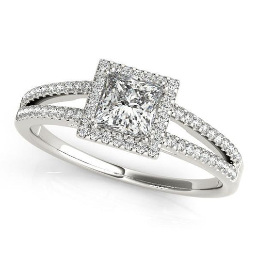 1/2 ct tw Halo Princess & Cushion Cut Engagement Ring with F Color VS Clarity GIA Certified Diamond