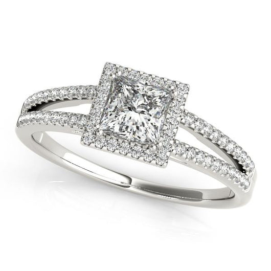 1 1 5 Ct Tw Halo Princess Cut Engagement Ring With F Color Vs Clarity Diamonds Gia Center Stone