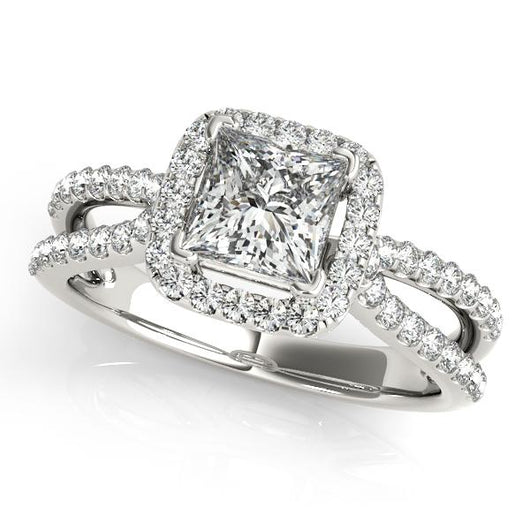 1 3/8 ct tw Halo Princess & Cushion Cut Engagement Ring with F Color VS Clarity GIA Certified Diamond
