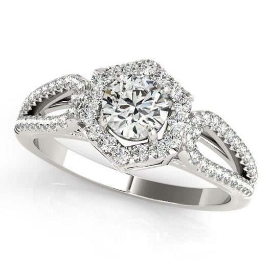 3/4 ct tw Halo Round Engagement Ring with F Color VS Clarity GIA Certified Diamond