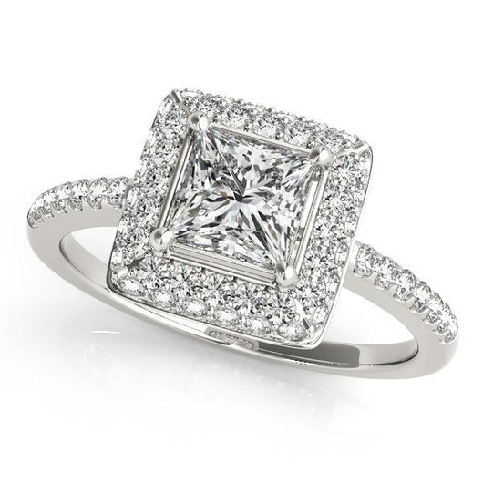 1 1 6 Ct Tw Halo Princess Cut Engagement Ring With F Color Vs Clarity Diamonds Gia Center Stone