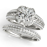 3/4 ct tw Halo Engagement Ring with F Color VS Clarity Diamonds GIA Center Stone.