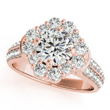 2 ct tw Halo Engagement Ring with F Color VS Clarity Diamonds GIA Center Stone.