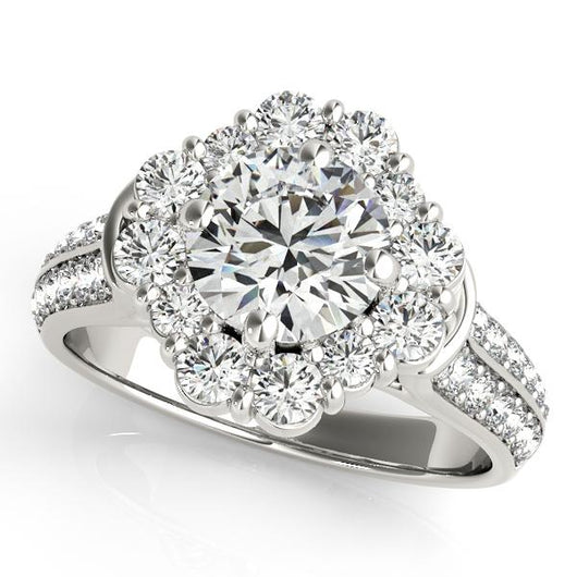 2 ct tw Halo Round Engagement Ring with F Color VS Clarity GIA Certified Diamond