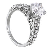 2/3 ct tw Antique Style Engagement Ring with F Color VS Clarity Diamonds GIA Center Stone.