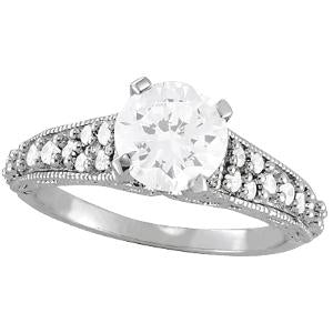 1/3 ct tw Antique Style Engagement Ring with F Color VS Clarity GIA Certified Diamond