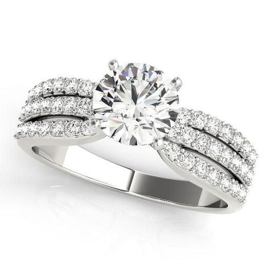 3/8 ct tw MultiRow Engagement Ring with F Color VS Clarity GIA Certified Diamond
