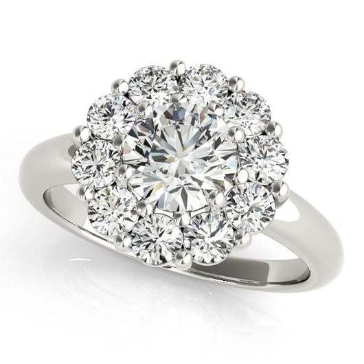 3 1/2 ct tw Halo Round Engagement Ring with F Color VS Clarity GIA Certified Diamond