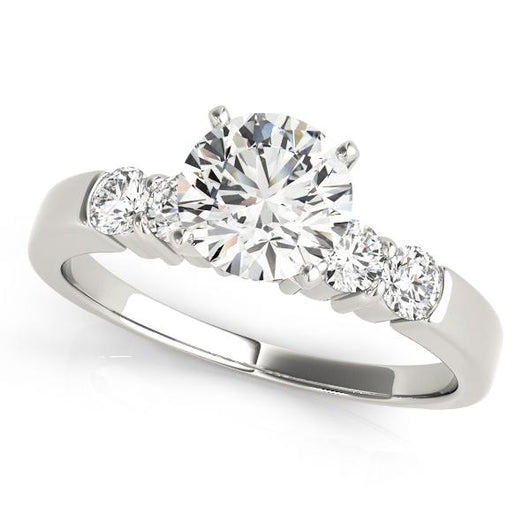 1 1/5 ct tw Single Row Prong Set Engagement Ring with F Color VS Clarity GIA Certified Diamond