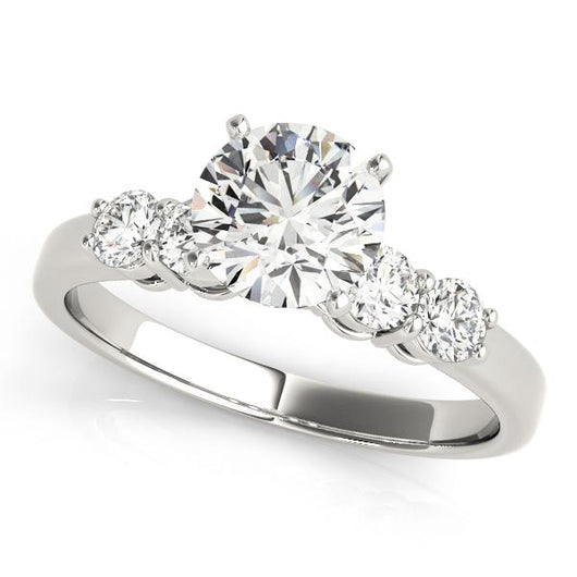 3/4 ct tw Single Row Prong Set Engagement Ring with F Color VS Clarity GIA Certified Diamond