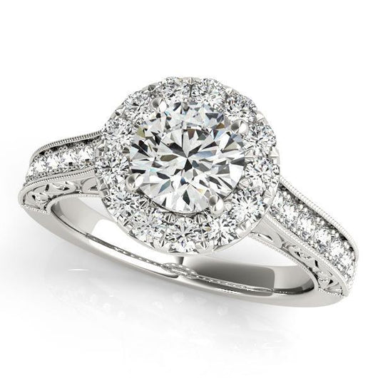 2 5/8 ct tw Halo Round Engagement Ring with F Color VS Clarity GIA Certified Diamond