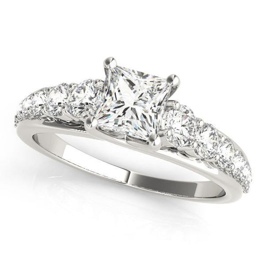 1 5/8 ct tw TrellisSingle Row Prong Set Engagement Ring with F Color VS Clarity GIA Certified Diamond