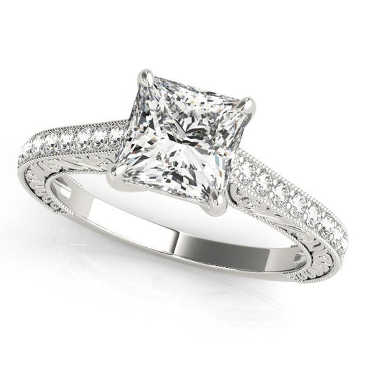 1 1/4 ct tw TrellisSingle Row Prong Set Engagement Ring with F Color VS Clarity GIA Certified Diamond