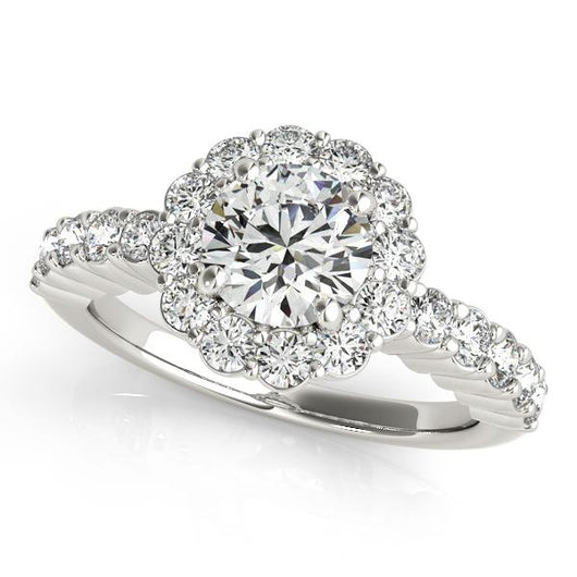 1 5/8 ct tw Halo Round Signature Bridal  Engagement Ring with F Color VS Clarity GIA Certified Diamond