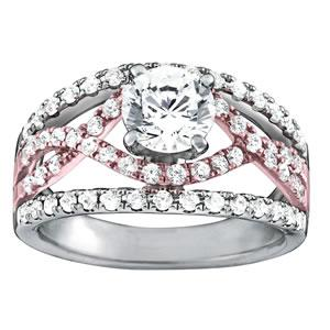 3/4 ct tw MultiRow Signature Bridal  Engagement Ring with F Color VS Clarity GIA Certified Diamond