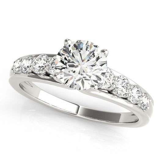 1 1/2 ct tw Single Row Prong Set Signature Bridal  Engagement Ring with F Color VS Clarity GIA Certified Diamond