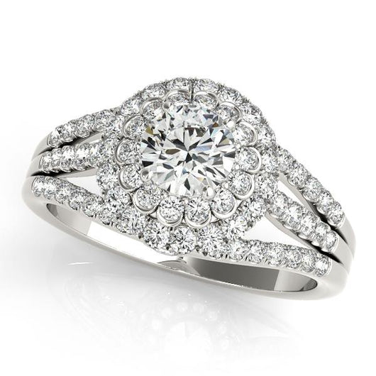 1 1/8 ct tw Halo Round Signature Bridal  Engagement Ring with F Color VS Clarity GIA Certified Diamond