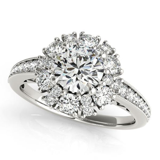 1 ct tw Halo Round Signature Bridal  Engagement Ring with F Color VS Clarity GIA Certified Diamond