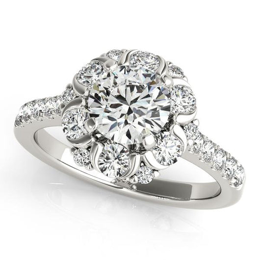 7/8 ct tw Halo Round Signature Bridal  Engagement Ring with F Color VS Clarity GIA Certified Diamond