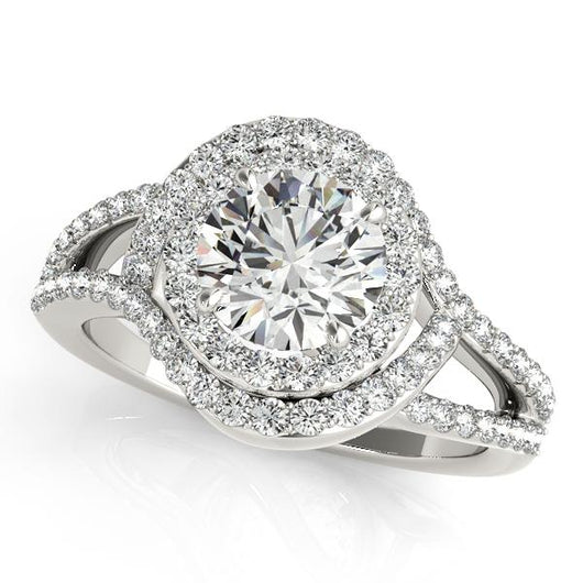1 1/2 ct tw Halo Round Engagement Ring with F Color VS Clarity GIA Certified Diamond