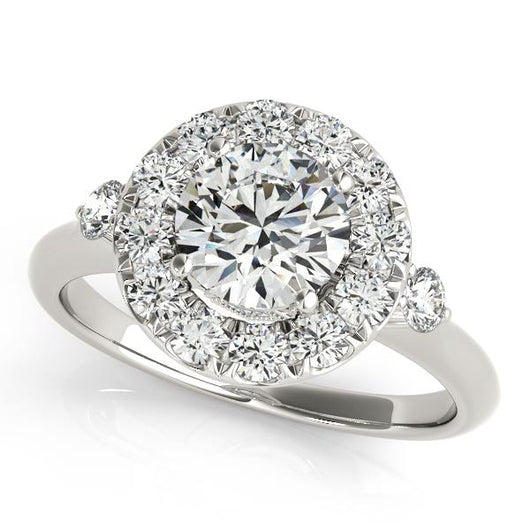 1 1/6 ct tw Halo Round Engagement Ring with F Color VS Clarity GIA Certified Diamond
