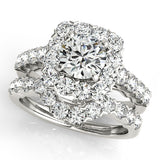 1 1/4 ct tw Halo Engagement Ring with F Color VS Clarity Diamonds GIA Center Stone.