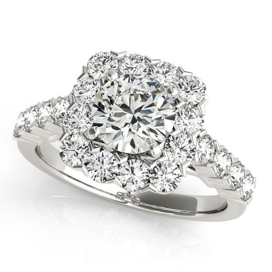 1 1/4 ct tw Halo Round Engagement Ring with F Color VS Clarity GIA Certified Diamond