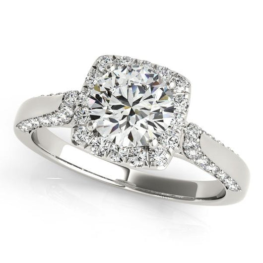 2 1/2 ct tw Halo Round Engagement Ring with F Color VS Clarity GIA Certified Diamond